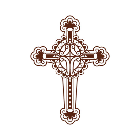 Ornate christian cross vector icon isolated on white. Vector illustration Illustration