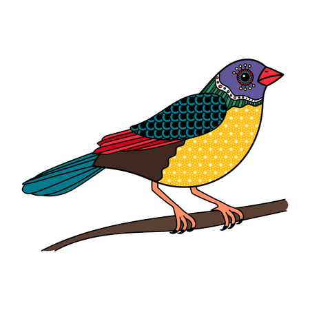 Vector colored bird with floral pattern on branch