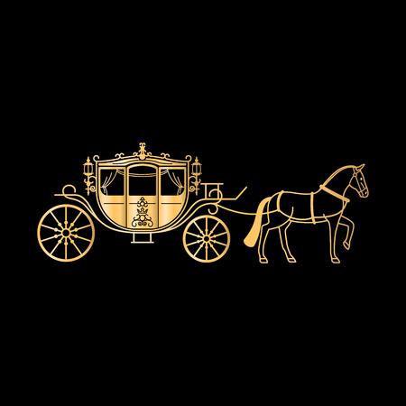 캐리지 말과 함께 황금 실루엣입니다. 검정색 배경에 벡터 말 캐리지 골드 실루엣 벡터 (일러스트)