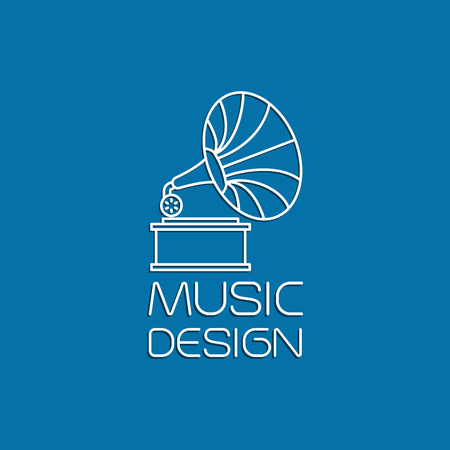 mistery: Music design with gramophone thin line vector logo
