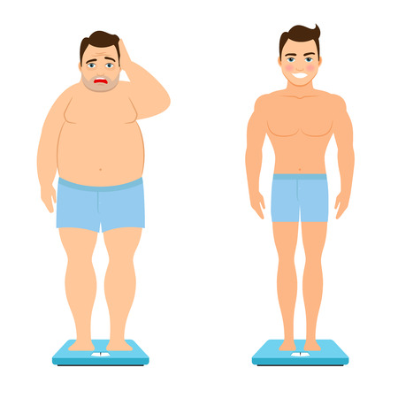 Before and after weight loss. Fat man and healthy fitness man on scales vector illustration