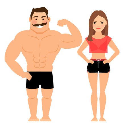 muscular male: Man and woman muscular couple. Male and female young fitness athletes isolated on white background. Vector illustration