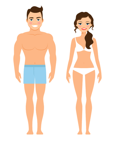 Healthy young man and woman vector. Human male and female body isolated on white background