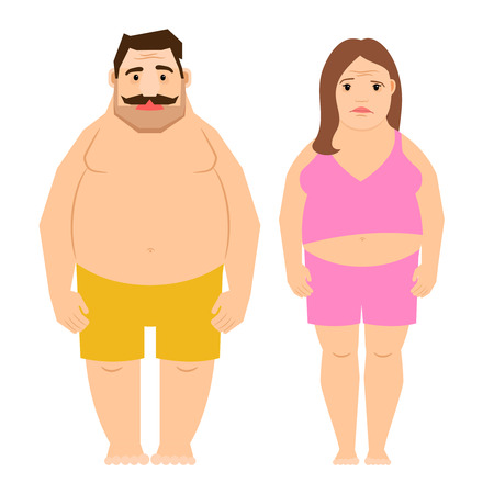 poor diet: Exercising man and woman isolated on white background. Fat obese people cartoon vector illustration Illustration