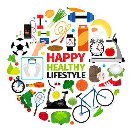 Healthy lifestyle emblem. Fitness promenade and food diet icons vector round label 일러스트