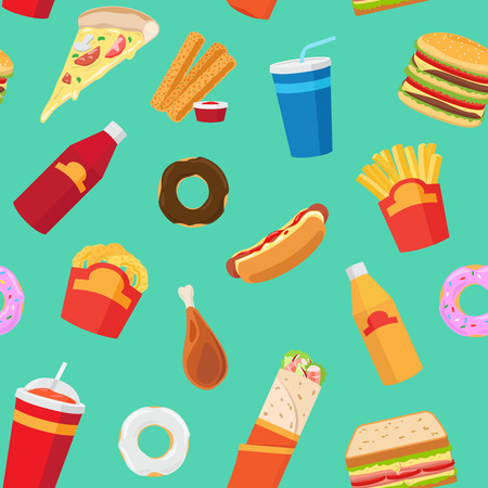 Vector fast food pattern or junk food vector seamless background