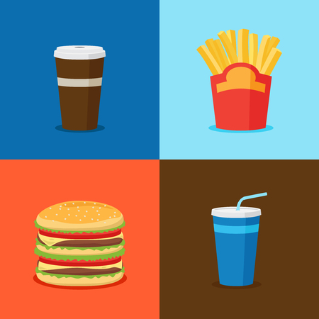 FastFood Junk Food Cartoon Icons. Burger and cola, french fries and coffee cup vector illustration Illustration