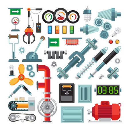 machine parts: Machinery flat icons. Industrial equipment, mechanical gears and levers, machine parts Illustration