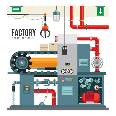 플랫 스타일의 컨베이어 제조. 기계 산업 공장 포장 컨베이어 벨트 벡터 일러스트 레이션