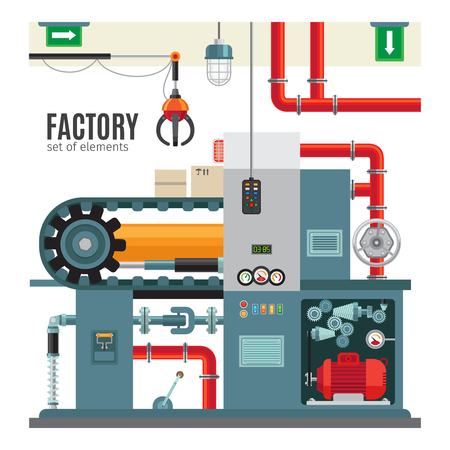 Manufacturing conveyor in flat style. Machinery industrial factory packaging conveyor belt vector illustration