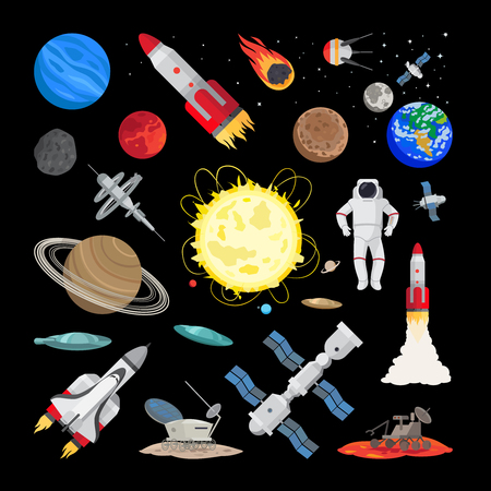 space station: Space icons in flat style. Vector union station, rocket, shuttle space ship, planets and earth illustration