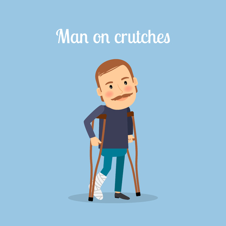 axillary: Disabled man on crutches with text. Vector illustration Illustration