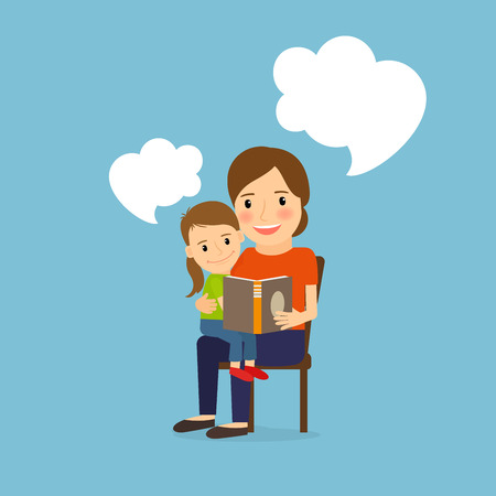 storybook: Mother and child reading book, cartoon vector illustration with messages