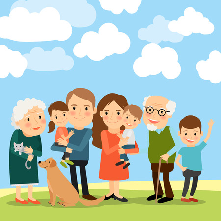 grandchildren: Big family and sky with clouds vector illustration Illustration