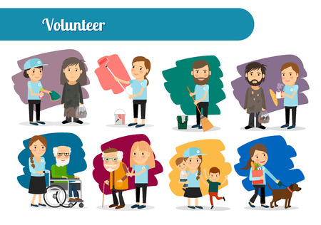 Volunteer characters big icons set. Vector illustration