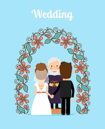 Wedding ceremony with bride groon and priest under arch vector illustration Illustration
