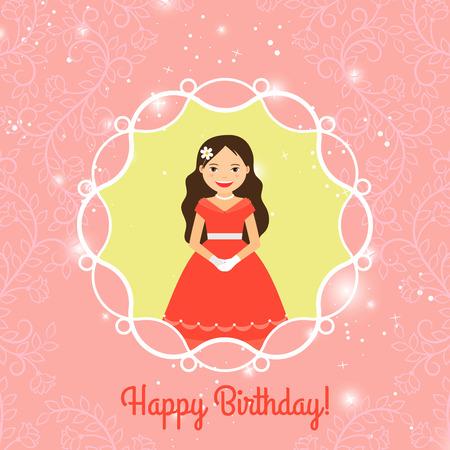 Tarjeta de felicitación del feliz cumpleaños para las niñas con la princesa de dibujos animados. ilustración vectorial