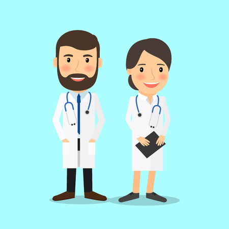 Medical doctor characters in cartoon style vector illustration Illustration