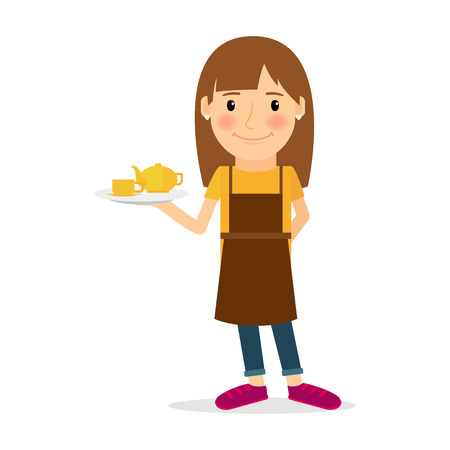 People occupation character. Waitress vector illustration on white background