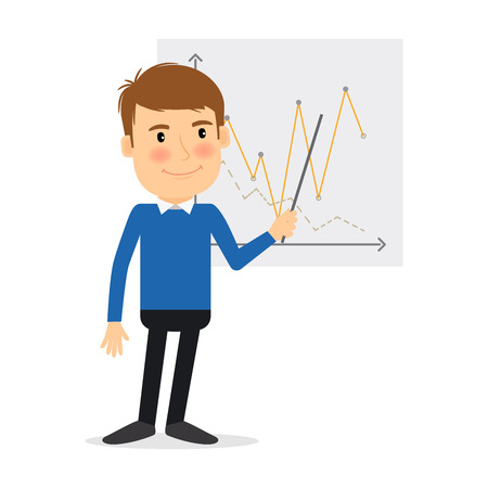 briefing: People profession. Man with schedule vector illustration