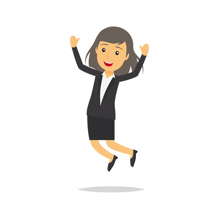 happy employees: Jumping businesswoman isolated cartoon character. Vector illustration