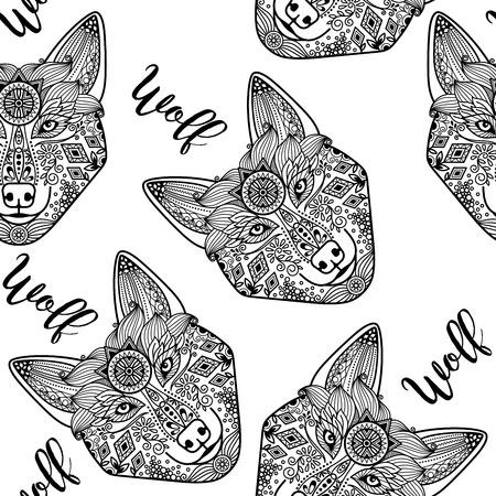 badger dog: Hand drawn black doodle wolf face, seamless pattern. Vector illustration Illustration