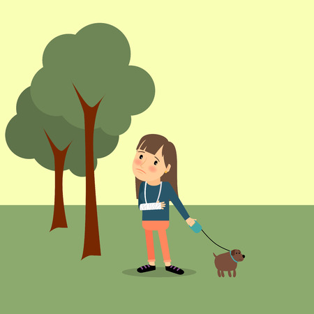 broken arm: Girl with broken arm with dog in the park. Vector illustration