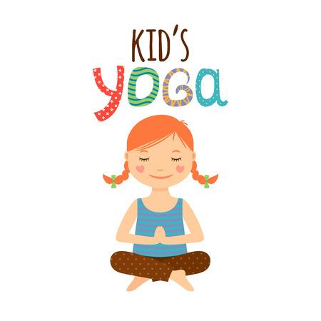 Yoga kids isolated logo design with girl. Vector illustration
