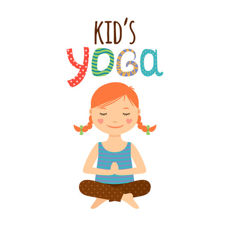 young asian girl: Yoga kids isolated logo design with girl. Vector illustration