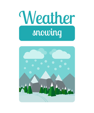 deign: Weather illustration in flat style vector. Snowing in the mountains
