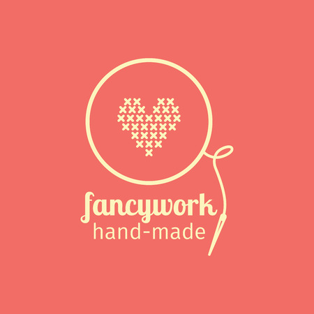fancywork: Fancywork handmade thin line icon. Colorful logo vector design