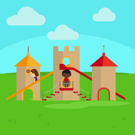 Children on playground in the castel cartoon vector illustration