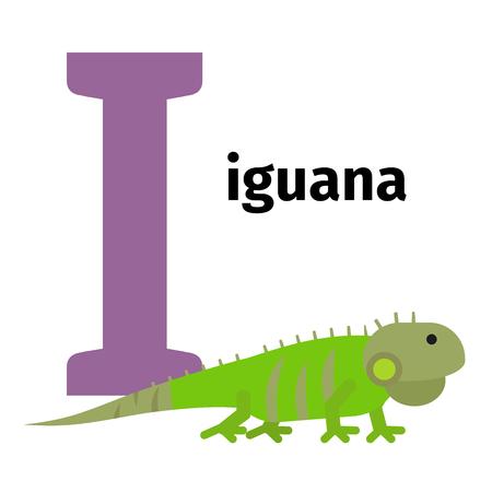 English animals zoo alphabet with letter I. Iguana vector illustration