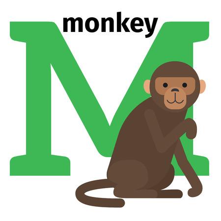 English animals zoo alphabet with letter M. Monkey vector illustration