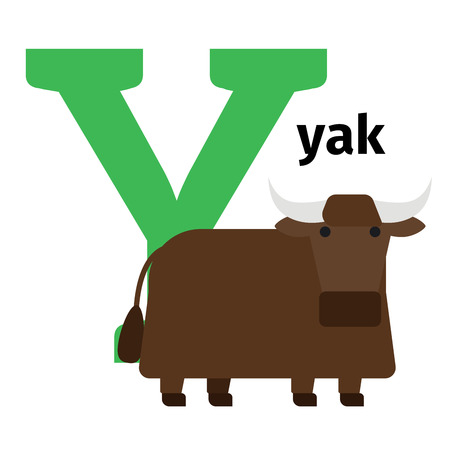 yong: English animals zoo alphabet with letter Y. Yak vector illustration