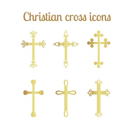 pentecost: Golden christian cross icons isolated set. Vector illustration