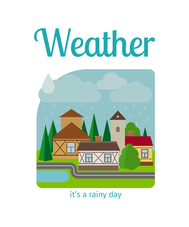 Different weather in the town illustration. Its a rainy day vector illustration Çizim
