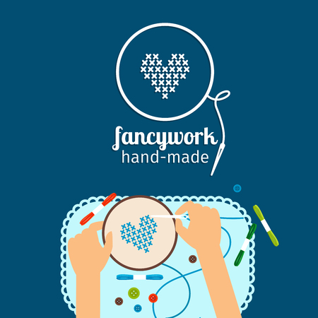 fancywork: Kids handmade vector illustration. Fancywork and cross stich icon