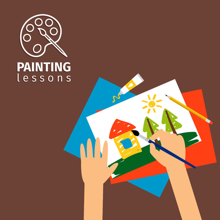 kids painting: Kids painting lessons vector illustration. Kids hands with paintbrush Illustration