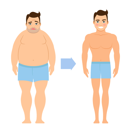 Cartoon vector man before and after weight loss
