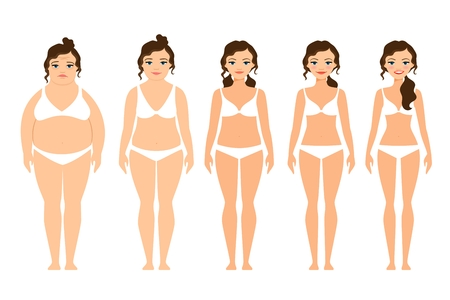 Cartoon woman before and after diet vector illustration
