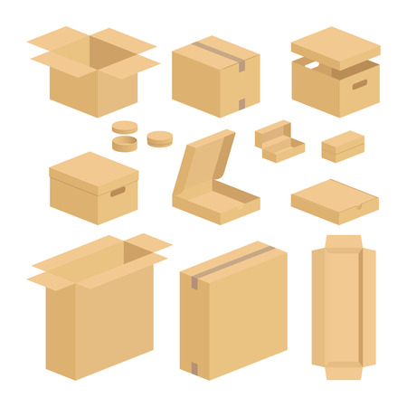 Carton box pack set. Closed and opened brown carton packing boxes vector flat items on white