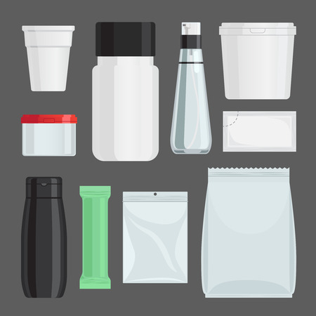 sachets: Cosmetics containers vector set. Bottles and jars, sachets and vials with cosmetic products