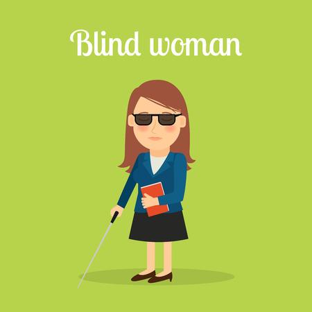 Disabled blind woman cartoon illustration