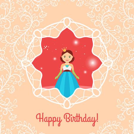 fashion story: Beautiful cartoon princess with lights on the decorative background.
