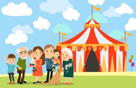 Big family standing near circus. Illustration