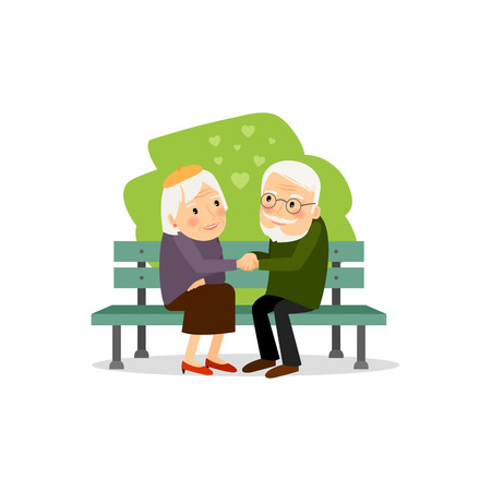 Seniors happy leisure. Grandmother and grandfather vector illustration