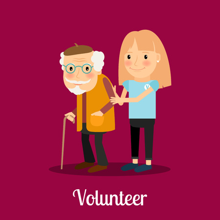 caring: Volunteer girl caring for elderly man