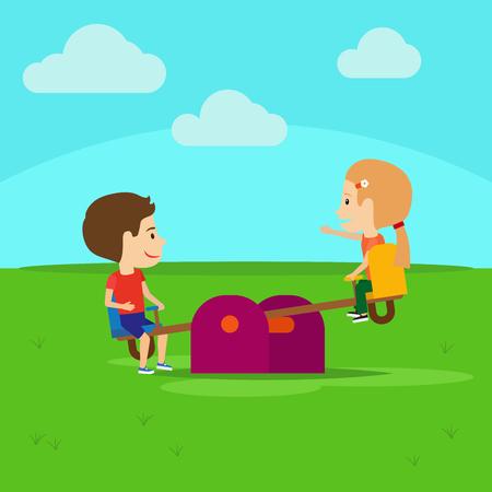 playmate: Boy and girl on playground cartoon illustration Illustration