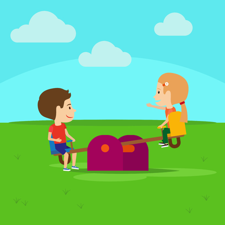 Boy and girl on playground cartoon illustration Illustration